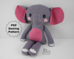 Elephant Sewing Pattern - Sitting View